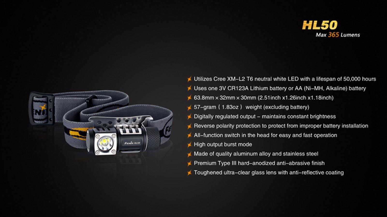 Đèn Pin FENIX HL50 – 365 LUMENS