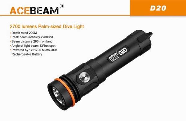 Acebeam D20 sử dụng ánh sáng lặn cỡ lòng bàn tay