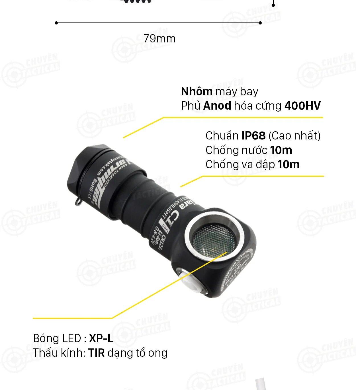 Cấu tạo đèn pin Armytek tiara c1