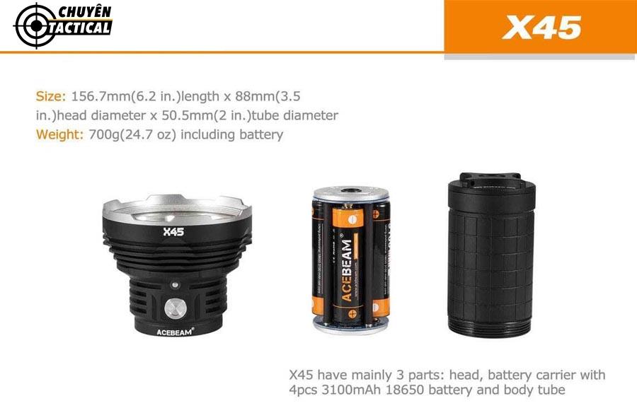 đèn pin Acebeam X45 Sử dụng 4 bóng CREE XHP70.2 P2