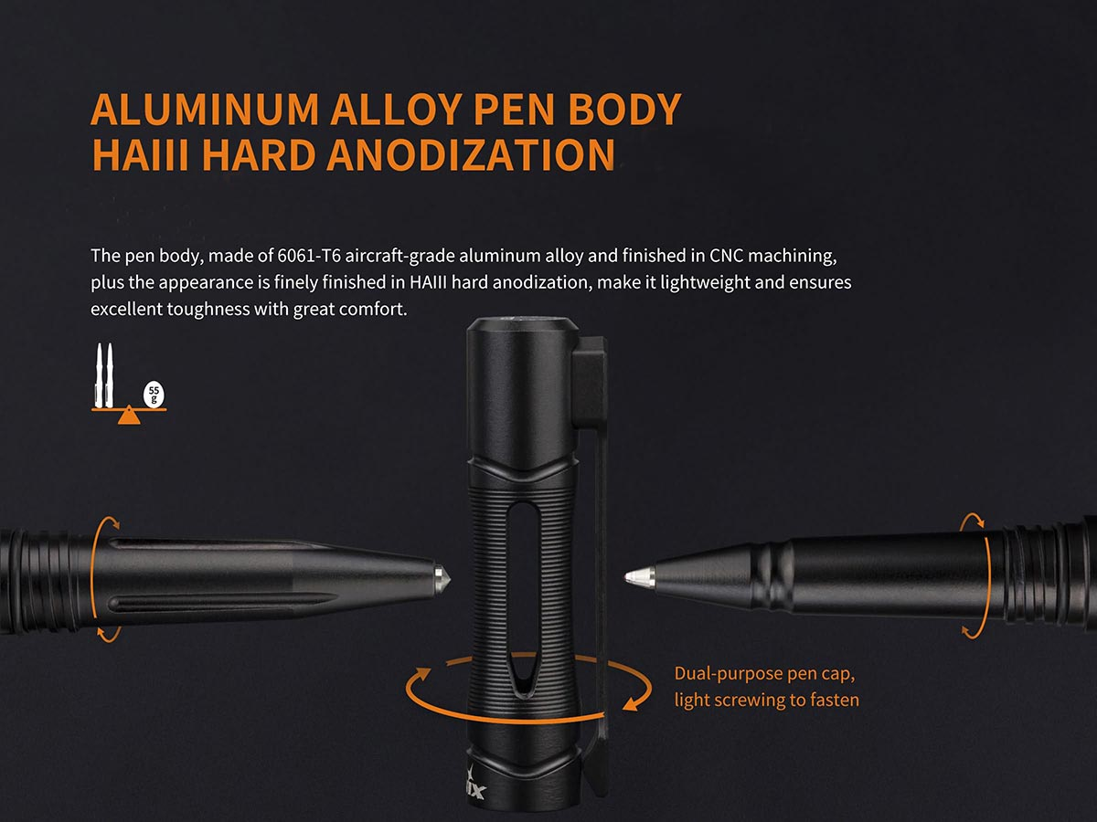 Bút bi Fenix – T5 Halberd Aluminum Alloy Tactical Pen (Thân màu đen – Có đầu phá kính)