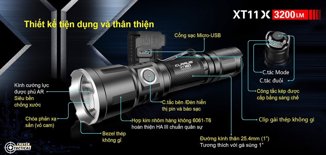 Tính năng của đèn pin klarus xt11gt