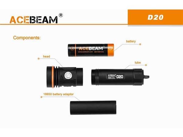 Đèn pin lặn Acebeam D20 có thời gian hoạt động lâu