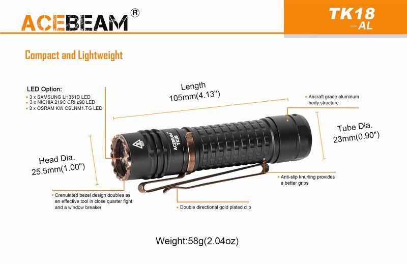 Đèn Pin Siêu Sáng ACEBEAM TK18