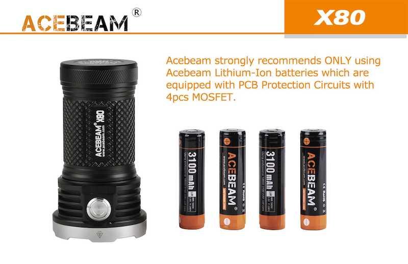 ACEBEAM X80 25000 LUMENS/TIA ĐỎ/TIA XANH/TIA UV