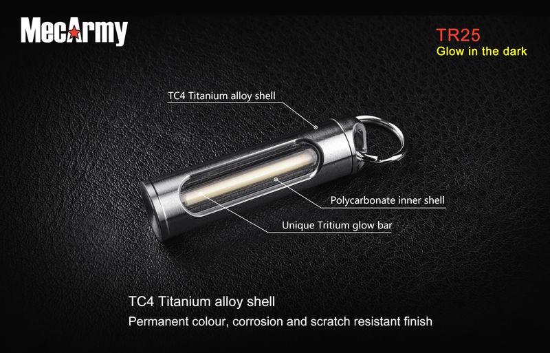 Móc Khoá Tritium MecArmy TR25 Phát Sáng 25 Năm Màu Cam
