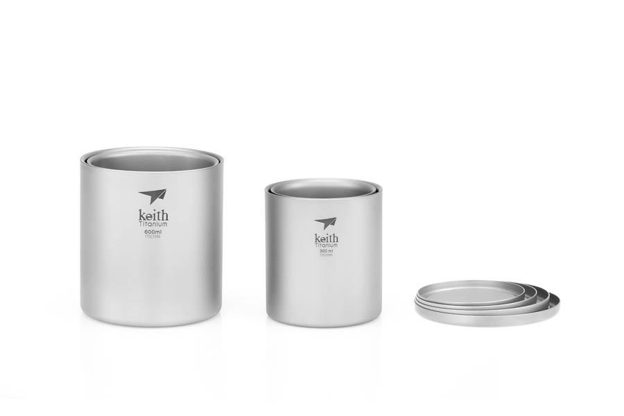 KEITH TI3501 – Set 4 Ca Titanium Giữ Nhiệt 2 Lớp Xếp Chồng ( Không Kèm Nắp )
