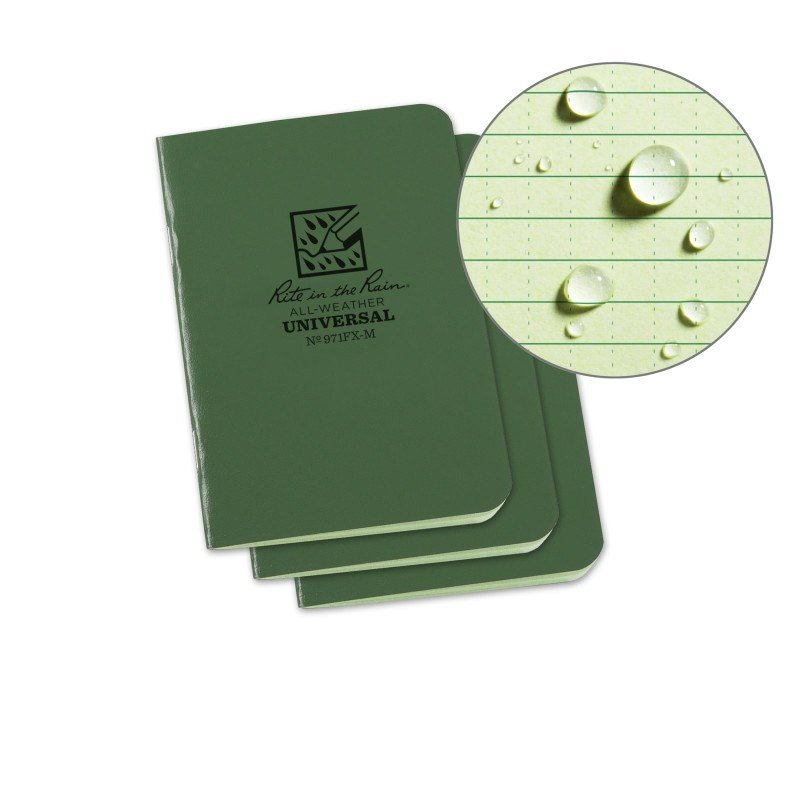 STAPLED MINI NOTEBOOK - UNIVERSAL - GREEN - 3 PACK