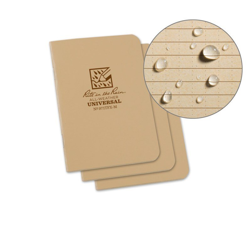 STAPLED MINI NOTEBOOK – UNIVERSAL – TAN – 3 PACK