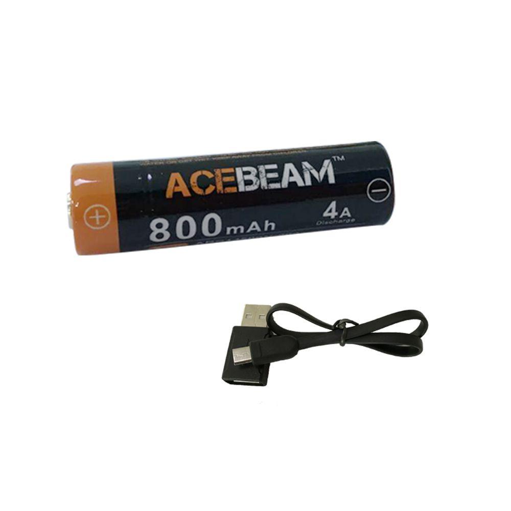 PIN SẠC ACEBEAM 14500 CÓ CỔNG SẠC MICRO USB DUNG LƯỢNG 800MAH
