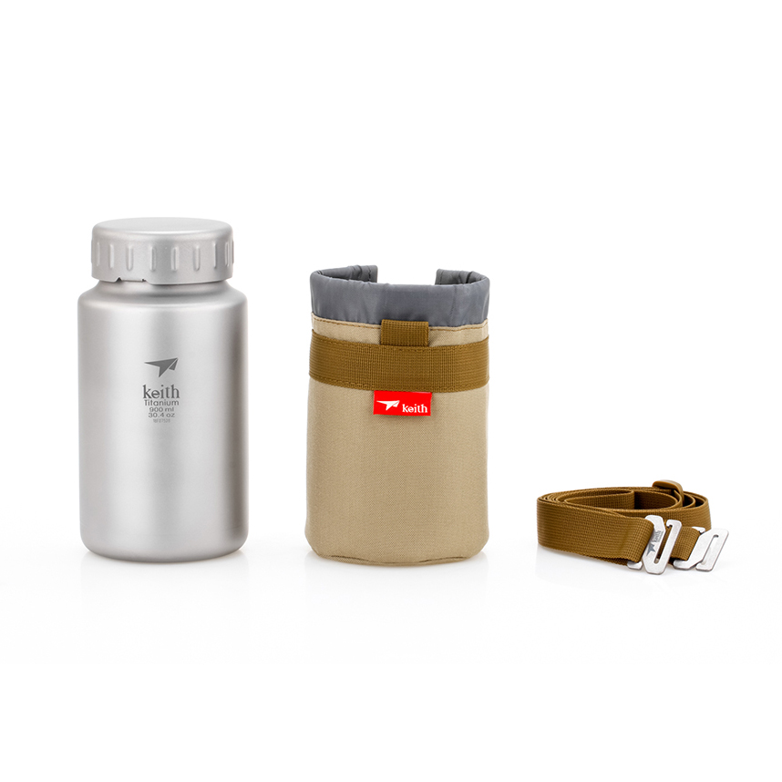 KEITH TI3035 – Bình Titanium 900ml  Không Ren + Bao Đựng và Quai Đeo