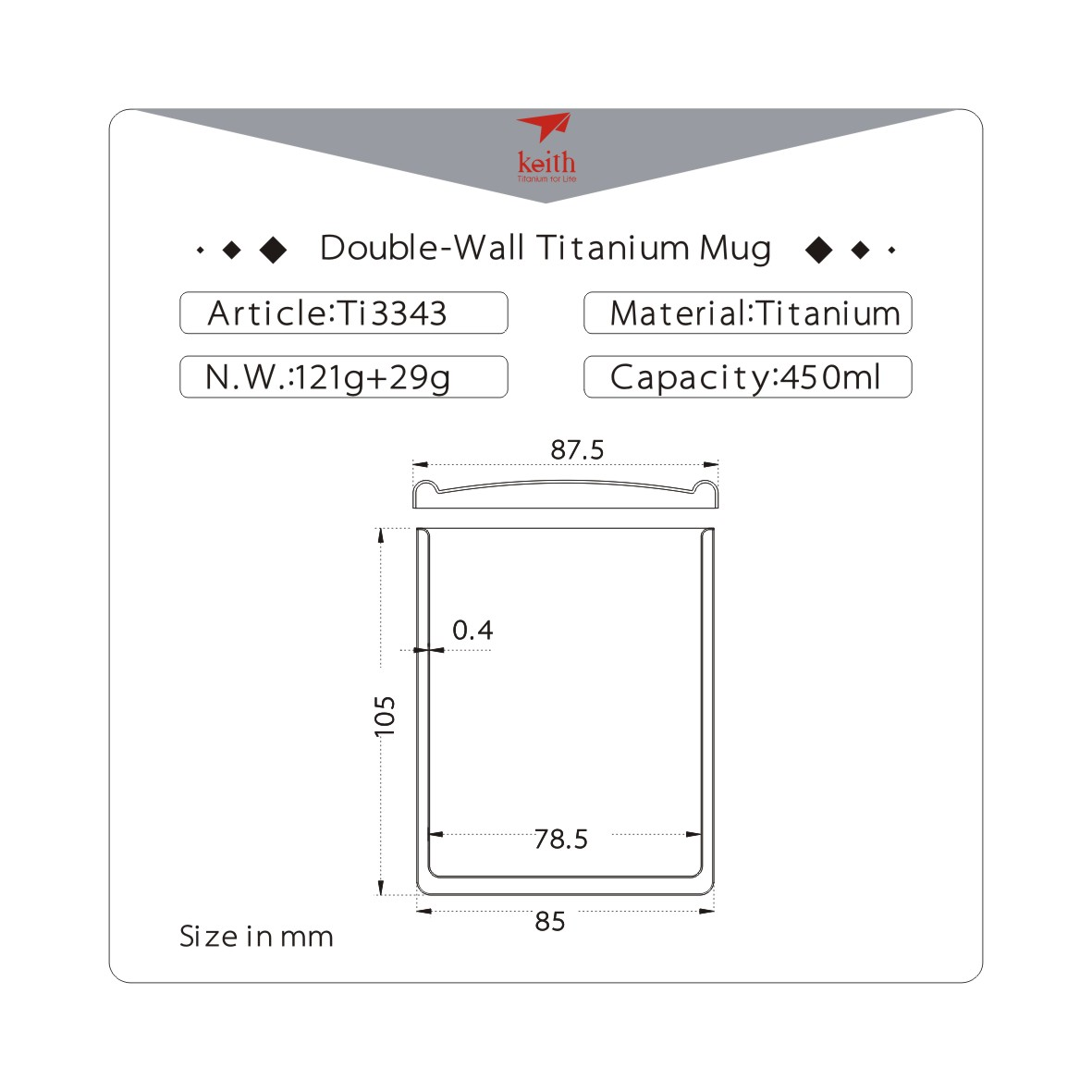 KEITH TI3343 – Ca Titanium Giữ Nhiệt 2 Lớp 450ml Kèm Nắp