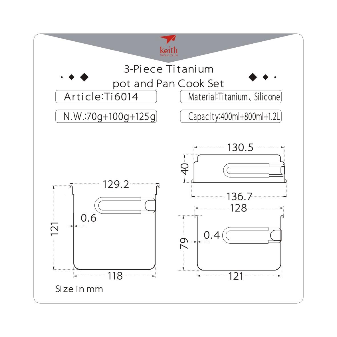 KEITH TI6014 – Bộ Nồi Titanium 3 Món
