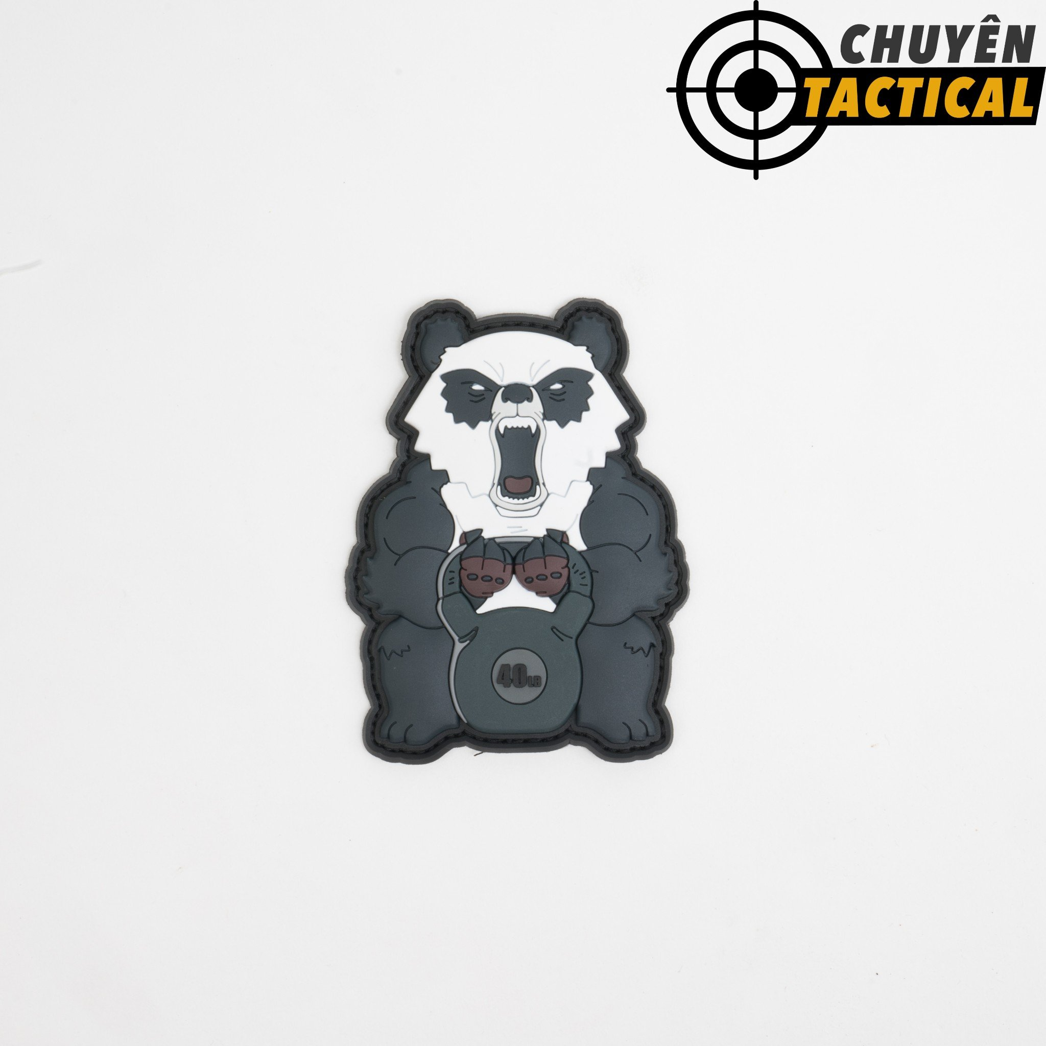 Angry Fitness Panda 3D PVC Patch