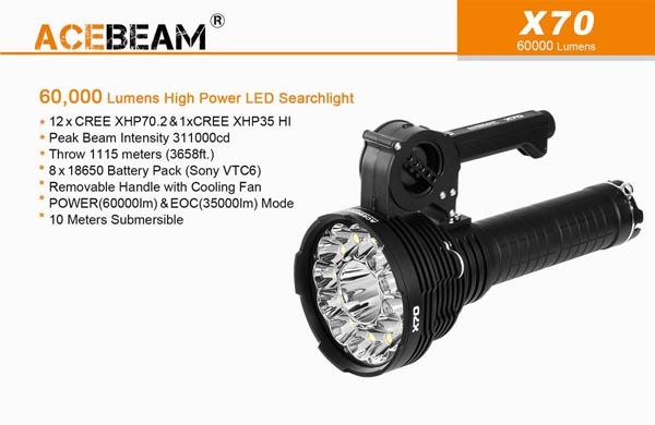 đèn pin ACEBEAM X70 siêu sáng