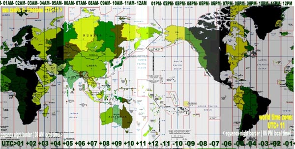 Múi giờ trên thế giới được thể hiện bằng độ lệch âm hoặc dương