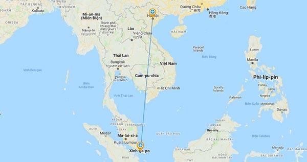 Từ Hà Nội đến Singapore mất khoảng 4 giờ 30 phút