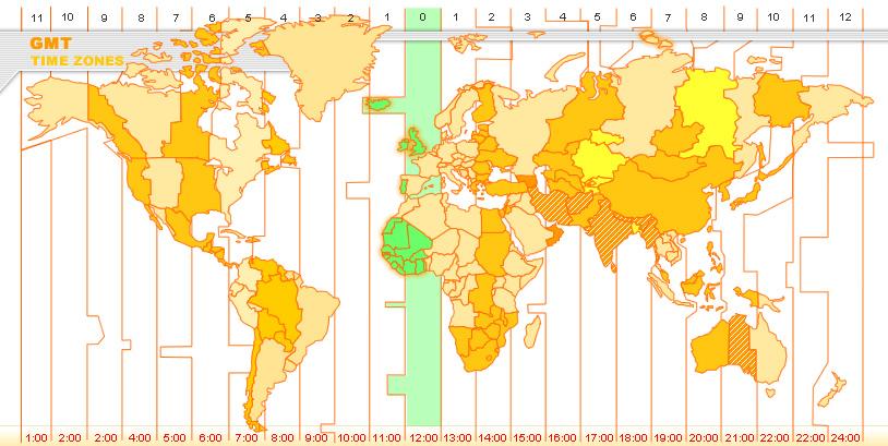 Sự phân chia múi giờ theo kinh độ gmt