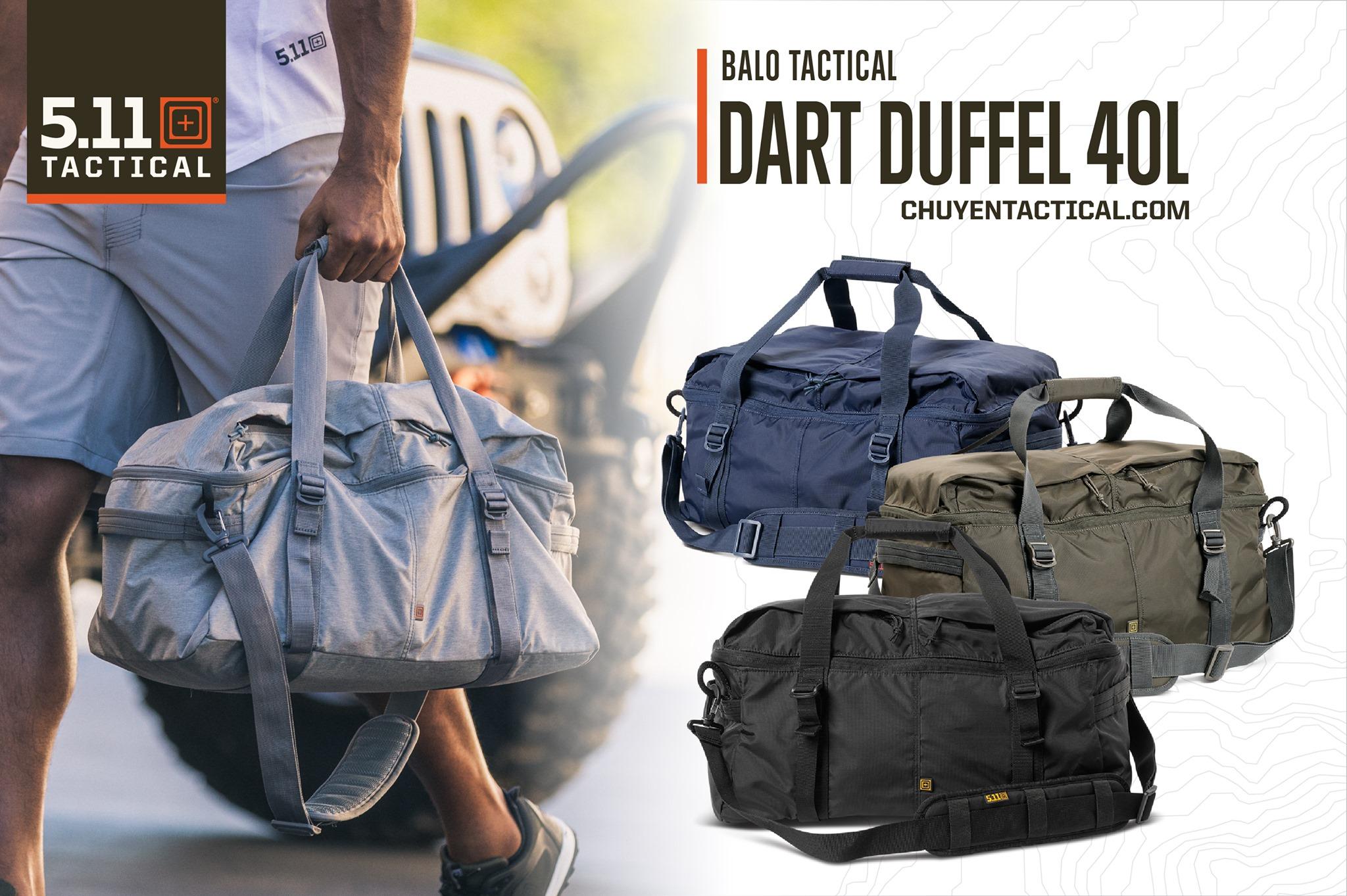 5.11 Tactical Dart Duffel Màu Lunar Heather (trái) và Night Watch, Grenade, Black (phải, từ trên xuống dưới)