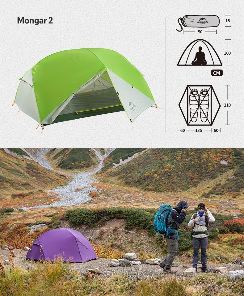 Lều dã ngoại siêu nhẹ 2 người Naturehike Mongar