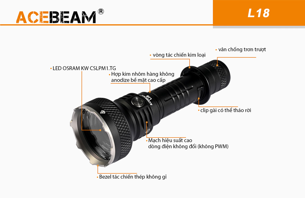 Đèn Pin Chiếu Xa ACEBEAM L18 ( không kèm pin )
